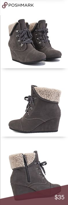 "•Wedge Booties• Edgy yet chic.This wedge definitely bring that edginess to fashion with its low inch wedge/lace-up closure/fold-down faux fur shaft/wedge height: 2.75""/shaft: 4.5""/opening: 12""approx/synthetic suede upper/lace-up closure with bronze eyelet brackets/side zip closure/round toe/thanks for lookingbrand: shiek                                      ❌No Trades❌ Shoes Ankle Boots & Booties"
