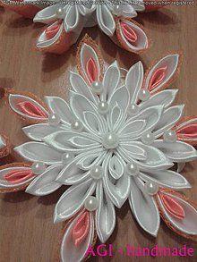 Dekorácie - vianočná vločka kanzashi - 6282968_