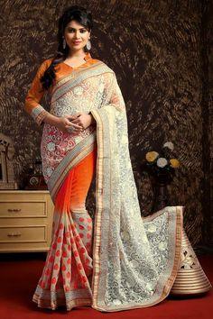 Orange Blanc Jacquard net Saree avec Blouse Art Prix:-106,08 € Andaaz Mode nouvel arrivant Orange Blanc Jacquard net Saree avec Blouse Art et Designer Pallu . Agrémentée de travail Resham , Pierre, Zari . Sari vient avec le designer manches trimestre et élégant Col Mao Blouse . Ceci est préfet pour Fête, Mariage , Festival, de cérémonie. http://www.andaazfashion.fr/orange-white-jacquard-net-saree-with-art-silk-blouse-dmv7946.html