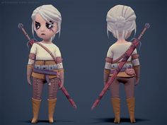 I did this as part of an art test at Blowfish studios a while ago, they wanted me to create Ciri from the Witcher games with a 2000 Tri limit and only a 256 texture for the character and weapon. Character Designer, 3d Model Character, Game Character Design, Character Modeling, Character Concept, Character Art, Game Design, Design Ideas, Blender 3d