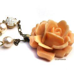 Spring Belle Rose Necklace by LizHutnick on Etsy, $26.00
