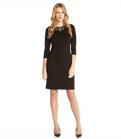 Jeweled Neckline Dress-Black-XS