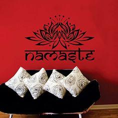 """Adhesivo decorativo de vinilo para pared, diseño de flor de loto con mensaje """"Namaste"""", de Buda, de Ganesha y de mandala"""