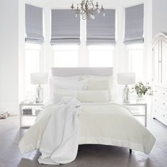 bed in the middle with arched windows .. The White Company Dulwich bed cotton