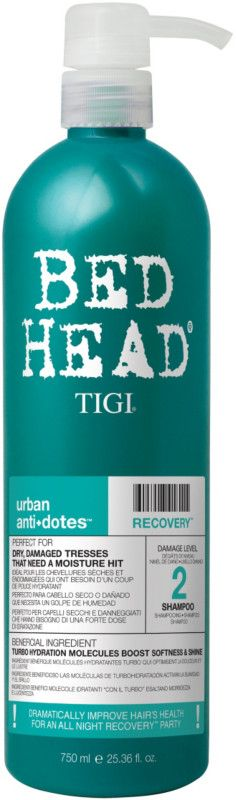 Let this Bed Head Urban Antidotes Recovery Shampoo by TIGI Bed Head help strengthen and shine your worn out locks. Perfect for dry, damaged tresses that need a moisture hit!
