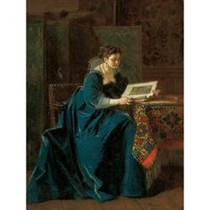 Charles Francois Pecrus   French, 1826-1907  Woman Reading in an Interior