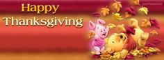 Pooh Bear Piglet Happy Thanksgiving Leafs CoverLayout.com