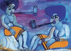 Gladys Mgudlandlu Xhosa women smoking pipes, gouache on paper, x cm Xhosa, Smoking Pipes, Women Smoking, Gouache, Artists, Paper, Painting, Pictures, Kunst