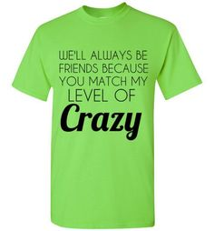 e1639f2d15b59 We ll Always Be Friend Because You Match My Level of Crazy T-Shirt