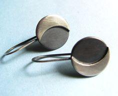 Pendientes luna de plata pendientes pequeño plata por Mocahete