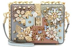 Dolce & Gabbana Dolce Embellished Caiman Leather Box Clutch l Brown Leather Handbags, Leather Box, Real Leather, Leather Purses On Sale, White Leather, Dolce And Gabbana Purses, Mode Statements, Mode Inspiration, Purses And Handbags