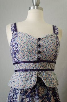 70s Vintage Blue Floral Peplum Patchwork Gunne Sax Style Peasant  Dress...I bought this one too!  I just love vintage clothes from the 1970's!!