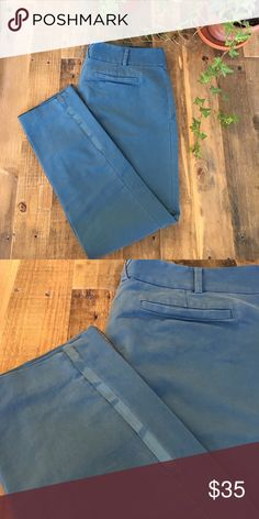 Lightweight Dusty Blue Chino Pants Lightweight Dusty Blue Chino Pants from Anthropologie. Ankle length size 6. Nice ribbon detailing at bottom of pant Anthropologie Pants Ankle & Cropped