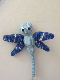 """Lula the Blue Dragonfly Free Amigurumi Pattern PDF Version ( click """"download"""" or """"free Ravelry Download"""")  http://www.ravelry.com/patterns/library/lula-the-blue-dragonfly"""