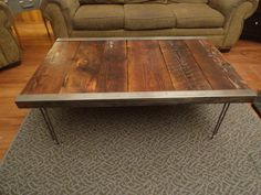 20x40 Industrial Coffee Table with raw steel trim and hairpin legs. $265.00, via Etsy.