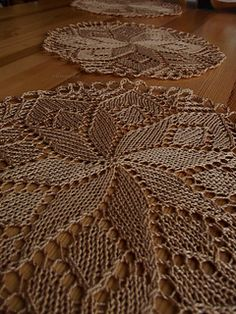 Ravelry: chmurkaa's Three little doilies Free Crochet Doily Patterns, Baby Knitting Patterns, Lace Knitting, Knitting Designs, Lace Doilies, Crochet Doilies, Knit Crochet, Crochet Tablecloth Pattern, Crochet Storage