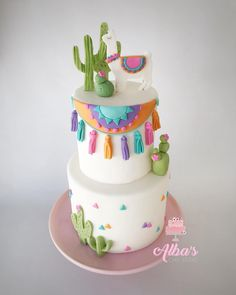 Llama and cactus birthday cake. More in my website Llama and cactus cake Perfect for a llama birthday party. Pretty Cakes, Beautiful Cakes, Amazing Cakes, Cake Cookies, Cupcake Cakes, Fondant Cupcakes, Llama Birthday, Cake Birthday, Birthday Ideas
