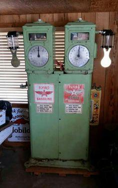 Rare Original Bowser Dual Clock Faced Gas Pump - Flying A