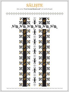 Semne Cusute: model de camasa din TRANSILANIA, Saliste Hungarian Embroidery, Folk Embroidery, Embroidery Patterns, Knitting Patterns, Cross Stitch Borders, Cross Stitching, Cross Stitch Patterns, Traditional House, Beading Patterns