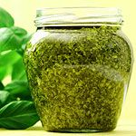 Fresh basil pesto. Can freeze up to 6 months. Good way to use up Summer's outdoor basil when it is growing like crazy.