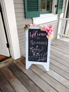 Chalkboard Sign for Baby Shower- Floral Baby Girl Shower- Hand lettering