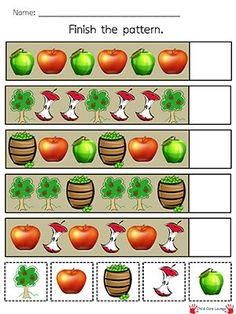 Use this Apple Pattern Printable to have kids practice patterns. Also great for quiet books. Apple Activities, Autumn Activities, Preschool Kindergarten, Preschool Activities, Early Learning, Kids Learning, Math Patterns, Apple Unit, Apple Theme