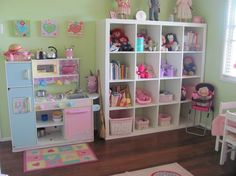 storage shelves for playroom | Cubby storage and cute kitchen