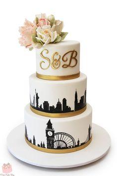 London & NYC Skyline Wedding Cake #peony #monogram                                                                                                                                                                                 More