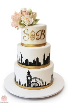 London & NYC Skyline Wedding Cake #peony #monogram