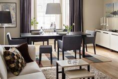 Spisebord med udtræk fra IKEA med komfortable spisebordsstole