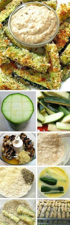 Zucchini Recipes - Roasted Crispy Zucchini Sticks with Homemade Onion Sauce - DIETA. Real Food Recipes, Vegetarian Recipes, Cooking Recipes, Yummy Food, Healthy Recipes, Healthy Snacks, Healthy Eating, Modern Food, Easy Cooking