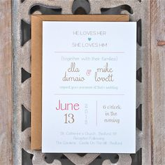 @jls827  how cute are these??  Wedding Invitations . Type Wedding Invitations . Modern Wedding Invitations . Rustic Wedding Invitations - He Loves Her. $2.50, via Etsy.