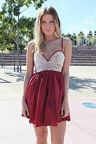 Burgundy pearl bodes dress