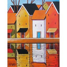 quilt inspiration - Folk Art Pier Town Buildings Water Reflections Modern Colorful Landscape Abstract Artwork by Cathy Horvath Buchanan