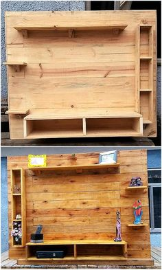 This pallets wood tv stand with shelving looks like a complete wooden furniture present in your home. This pallet wood project constructed with recycled pallets appear stunning. This is mind-blowing artwork to turn your lounge an appealing area. Wooden Pallet Projects, Wooden Pallet Furniture, Wooden Pallets, Pallet Wood, Pallet Ideas, Buy Pallets, Furniture Ideas, Furniture Nyc, Pallet Seating