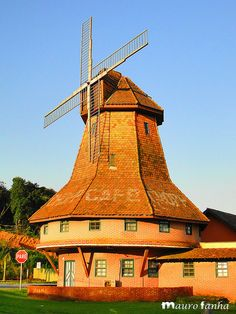 Santa Catarina is a state of Brasil, in the south of the country, the state is also known as Santa and Beautiful Catarina or just Santa. Holland Windmills, Old Windmills, Tilting At Windmills, Vive Le Vent, Water Mill, Water Tower, Le Moulin, Covered Bridges, Historical Sites