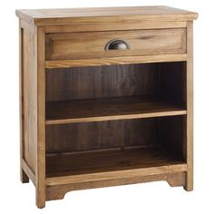 Eco-friendly handcrafted wood nightstand with two open shelves.    Product: Nightstand  Construction Material: Wood