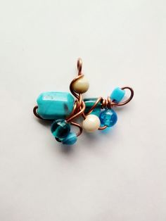 Turquoise Blue & Cream Copper Wire Wrapped