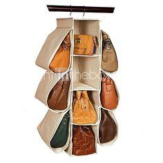 hogar Hangging almacenaje del sujetador de la ropa interior de tela zapatos de recibir el bolso no tejido 10 cuadrículas (beige) - EUR €17.63