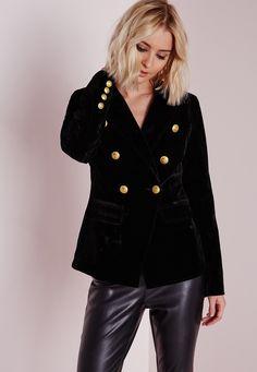 Missguided - Blazer en velours noir à boutons dorés