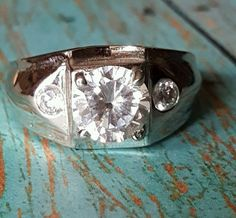 Men's Silver Cocktail Ring 3 Stones Cubic Zirconia Sizes 9, 12 USA Seller RC1609 #Unbranded #Cocktail
