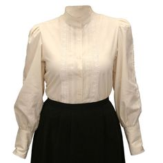 Victorian Ladies Ivory Cotton Solid Stand Collar Blouse | Dickens | Downton Abbey | Edwardian || Abbington Blouse - Natural