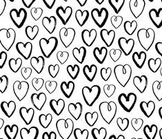 Hearts - White and Black by Andrea Lauren  fabric by andrea_lauren on Spoonflower - custom fabric