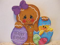 HP Gingerbread Easter Chick ginger  SHELF SITTER hand painted USA