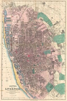 """""""Vintage Map of Liverpool England """" by Vintage Map Store Liverpool Map, Liverpool Life, Liverpool History, Liverpool England, Vintage Maps, Antique Maps, Vintage Wall Art, Train Map, Old Maps"""