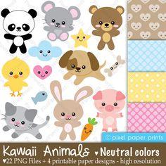 Clip Art and Digital Paper Set - Kawaii Animals - NEUTRAL COLORS. $5.00, via Etsy.