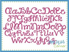 "Happy Day Embroidery Font  1""-4"""