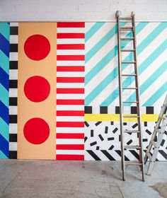 Mural Dot stripe slash block and sprinkle. The gallerywalls at Koskela are looking so vibrant and fun after Camille Walala worked her magic on them. So joyful! Memphis Design, Memphis Art, Kids Room Design, Wall Design, Design Art, Design Ideas, Graphic Design, Mural Art, Wall Murals