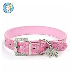 Visky ® cat Dog Puppy Pretty Cute Rhinestones Dog Charm PU Leather Collars Necklaces(Pink,Meduim) -- Tried it! Love it! Click the image. : Cat Collar, Harness and Leash