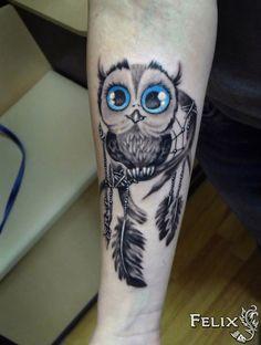 Owl Thigh Tattoos, Baby Owl Tattoos, Cute Owl Tattoo, Cute Girl Tattoos, Wrist Tattoos, Body Art Tattoos, Owl Dreamcatcher Tattoo, Wicca Tattoo, Buho Tattoo